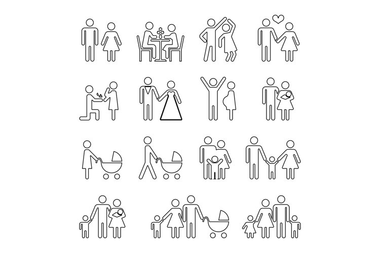 Family vector thin line icons set in black and white example image 1