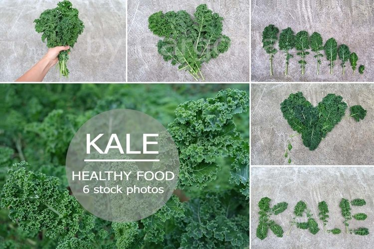 6 photos of curly edible leafs of Kale Cabbage, Healthy food