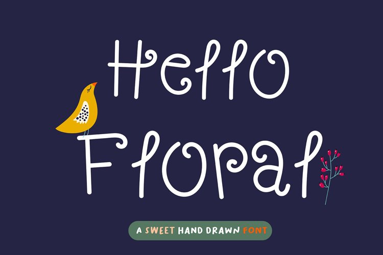 Hello Floral Handwritten- cute kid font Kawaii style! example image 1