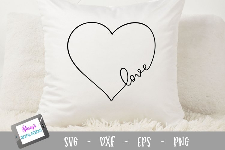 Love SVG in a heart - Valentine SVG, handlettered example