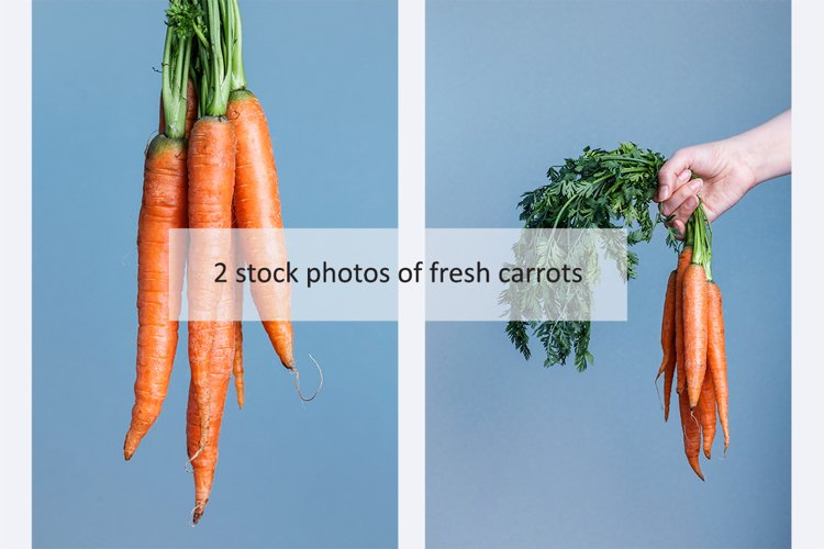 Set of 2 photos of fresh carrots example