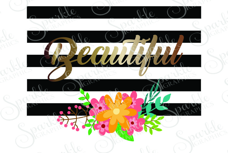 Beautiful Stripe Flower Cut File | SVG, EPS, DXF, PNG