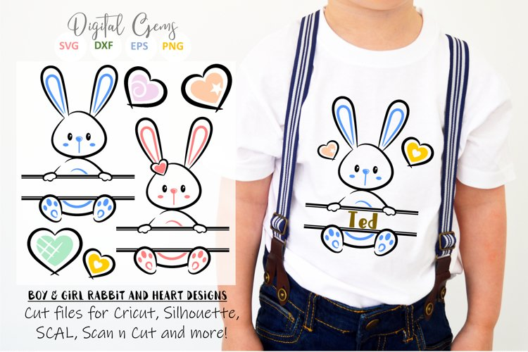 Split Bunny Rabbits, Easter SVG / DXF / EPS / PNG files example image 1