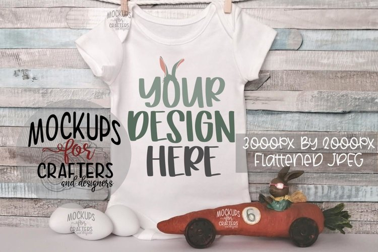 Baby Bodysuit Mock-Up, Easter, Spring example image 1