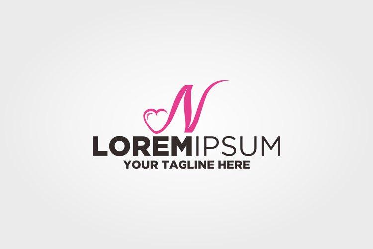 Letter N Love Logo example image 1