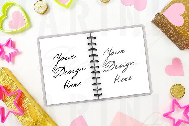 Valentines day disc-bound planner mockup, notebook 1183