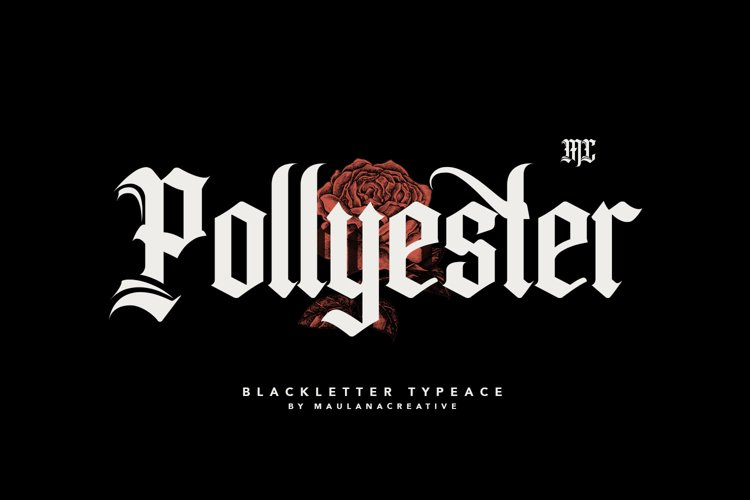 Pollyester Blackletter Typeface Font example image 1