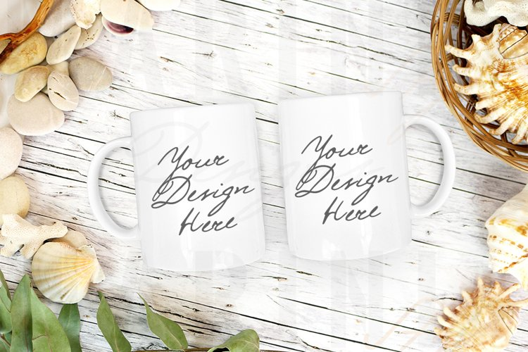 Two Mug mockup, Summer Beach Double Coffee mug Mock up,1047