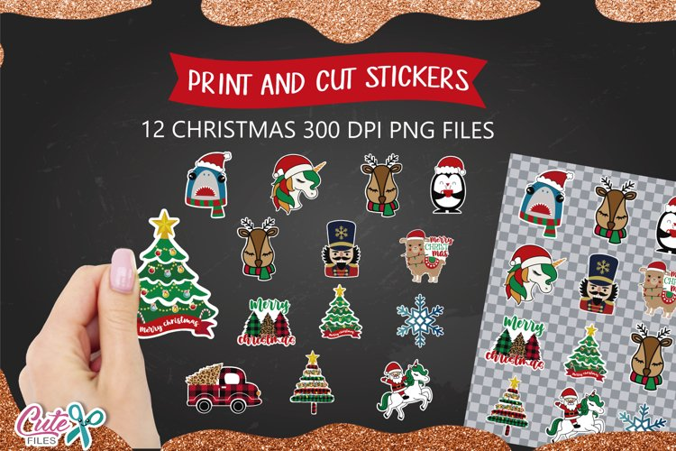 Christmas ilustration for print and cut stickers