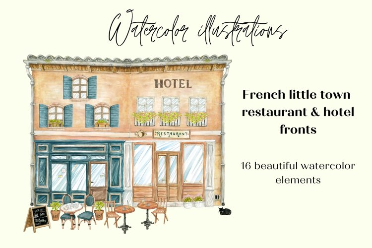 Watercolor French Restaurant Illustrations, Flowers & Tables example image 1