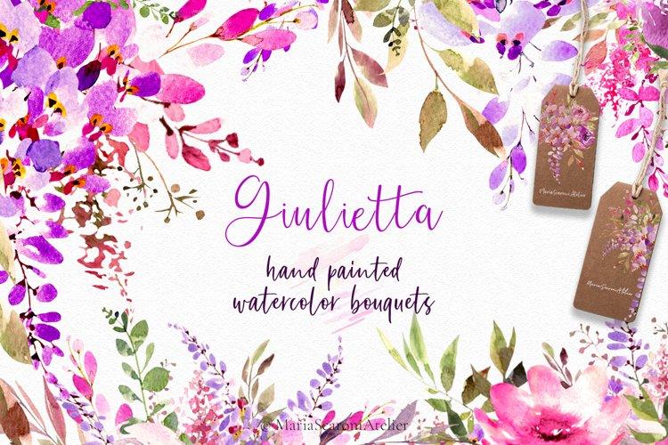 Watercolor Clipart Bouquet, Wisteria Clip Art, Purple Flower