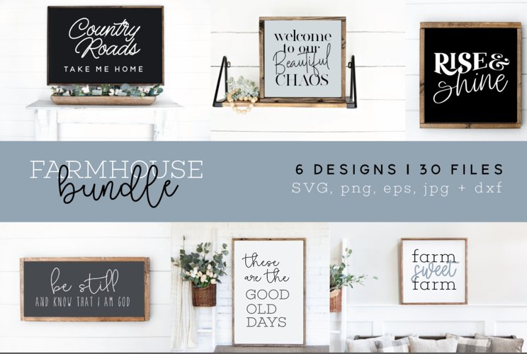 Farmhouse SVG Bundle, 6 Designs, 30 Files