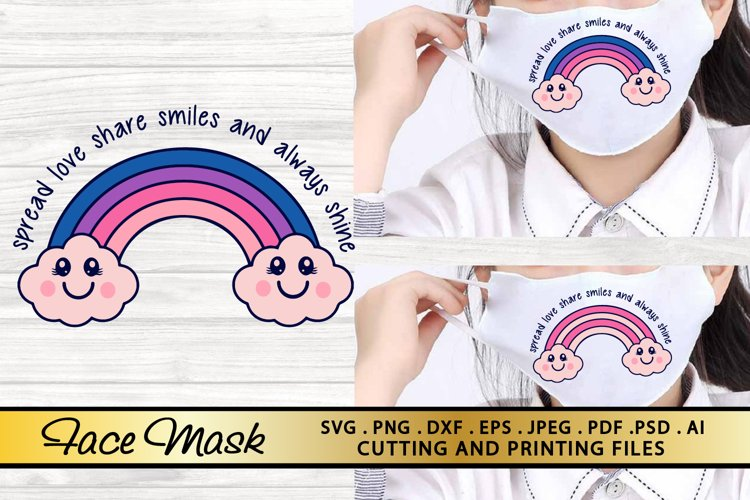 Rainbow SVG Mask SVG PNG EPS DXF Face Mask SVG Quotes SVG example image 1