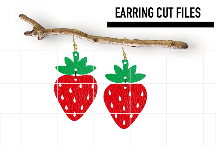 Strawberry Earrings Svg Template