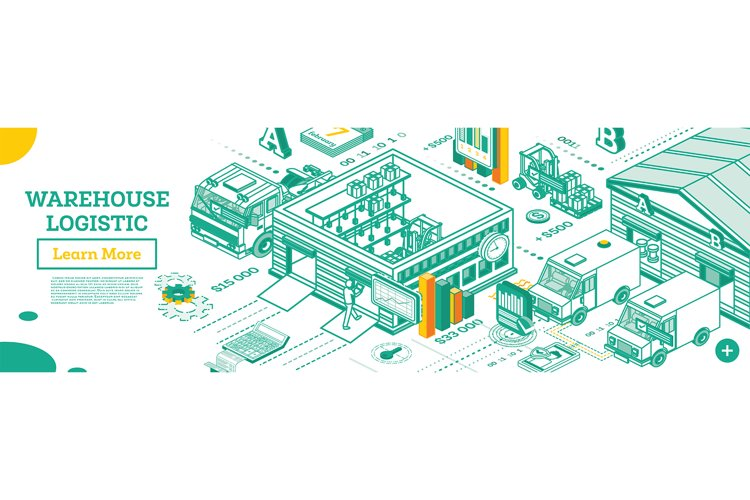 Warehouse Exterior. Isometric Outline Concept example image 1