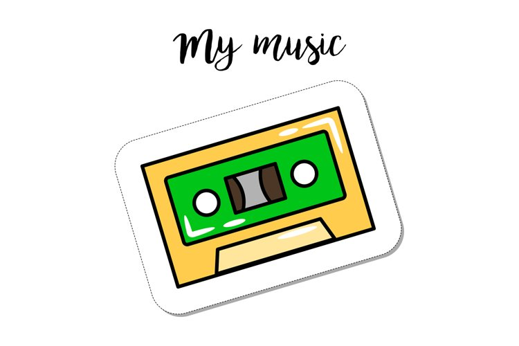 Fashion patch element retro cassette example image 1