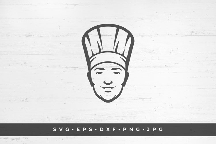 Happy smiling chef face in hat silhouette example image 1