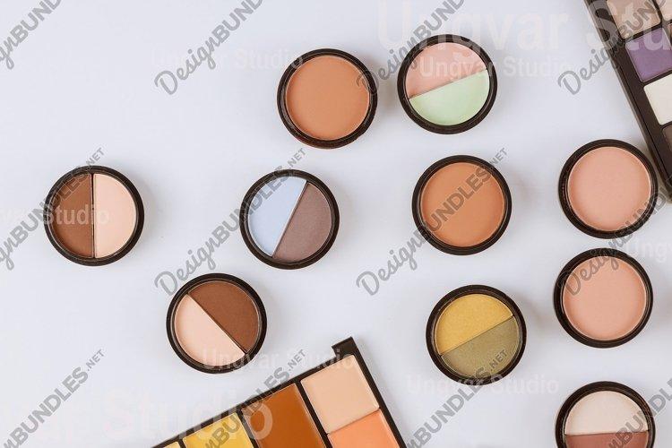Set of eyeshadows in pastel beige colors pallet brown matte example image 1