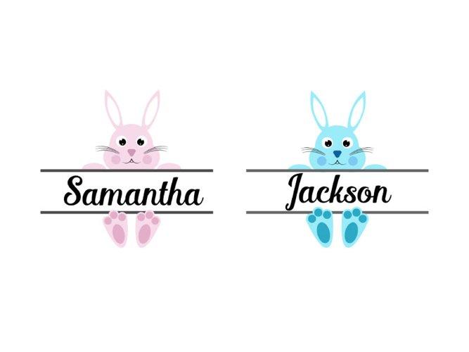 Easter Bunny Svg, Easter Monogram Svg ,Svg Dxf Png Jpg Eps v example image 1