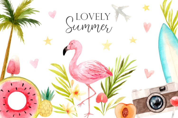 Watercolor Lovely Summer. Cliparts ans Frames Set