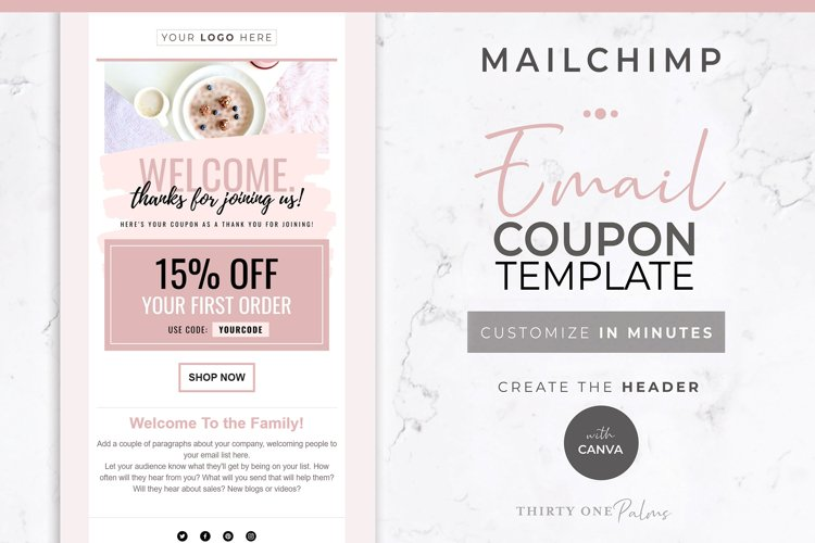 Email Template for Canva & Mailchimp | Welcome Email Coupon