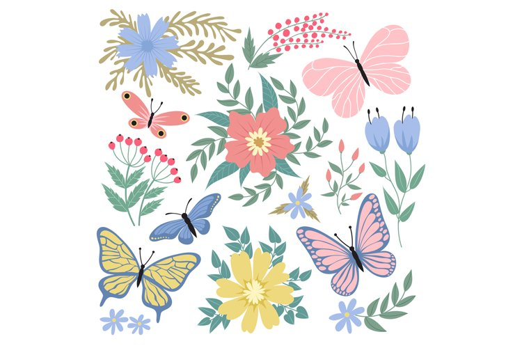 Butterflies and flowers. Hand drawn vector summer and spring example image 1