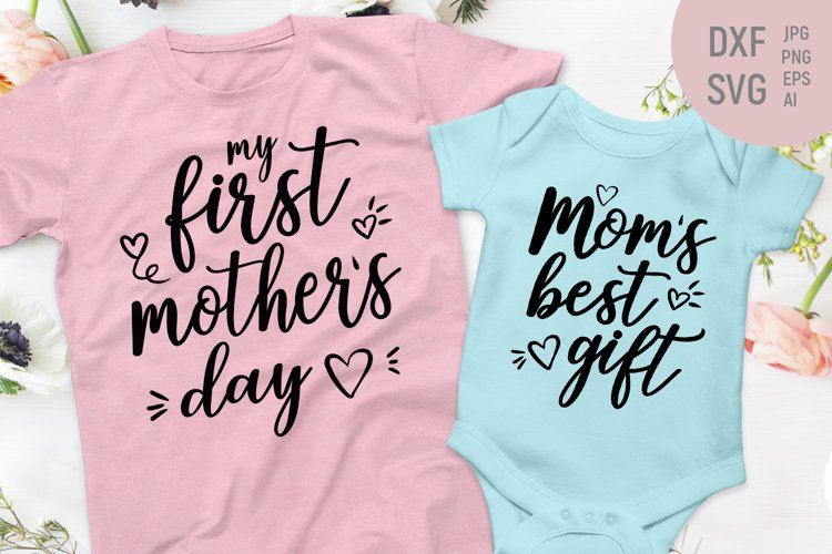 Our First Mother's Day print matchin shirt and baby onesie example image 1