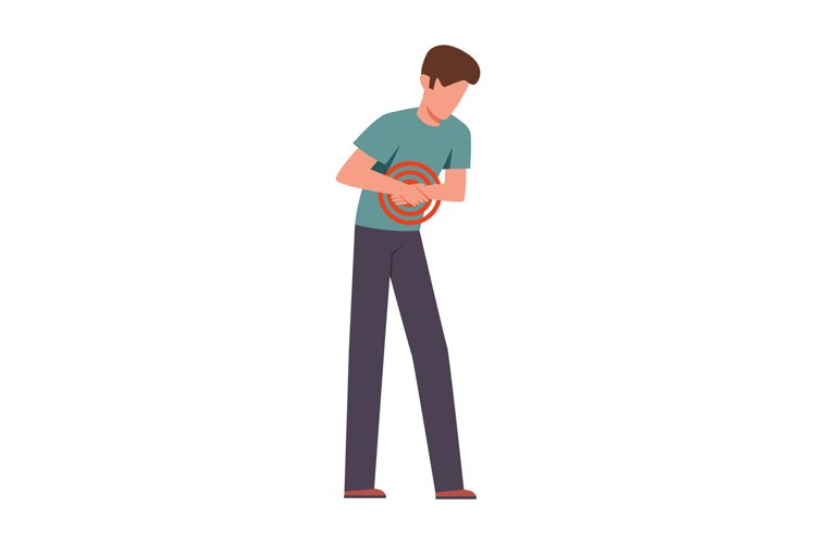 Man suffering from abdominal pain. Male young character bend example image 1