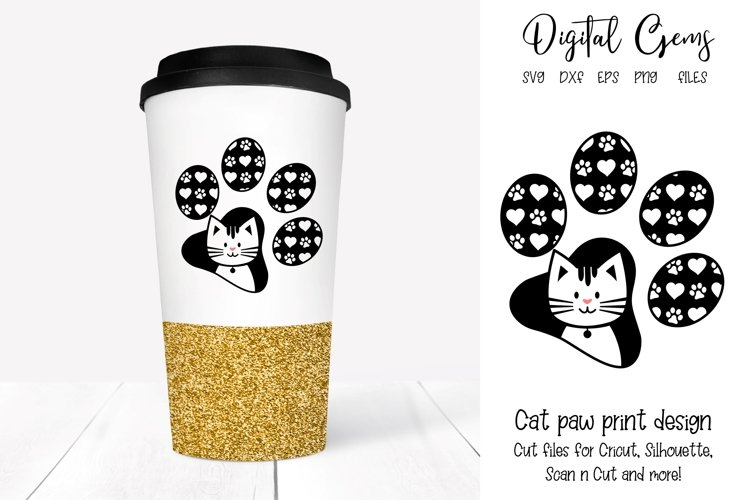 Cat paw print design SVG / EPS / DXF / PNG Files