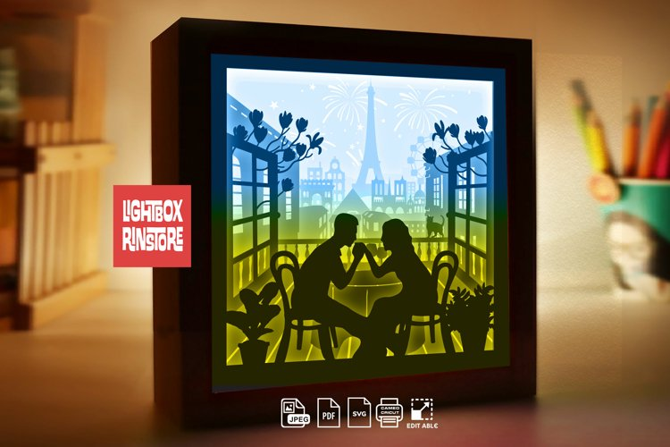 #232 Love In French, Romantic Paris, 3d paper lightbox