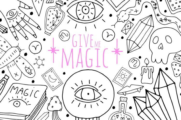 Modern vector mystic and magic set doodle clipart