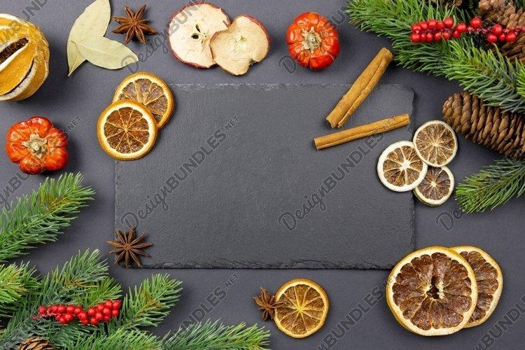 Christmas dark background. Flat lay photo mockup. example image 1