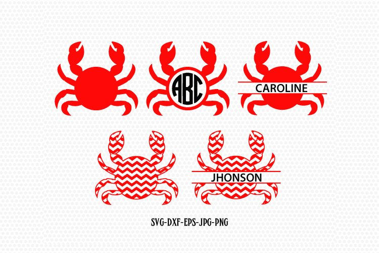 Crab SVG, Crab Monogram frames SVG files, Beach svg cuts