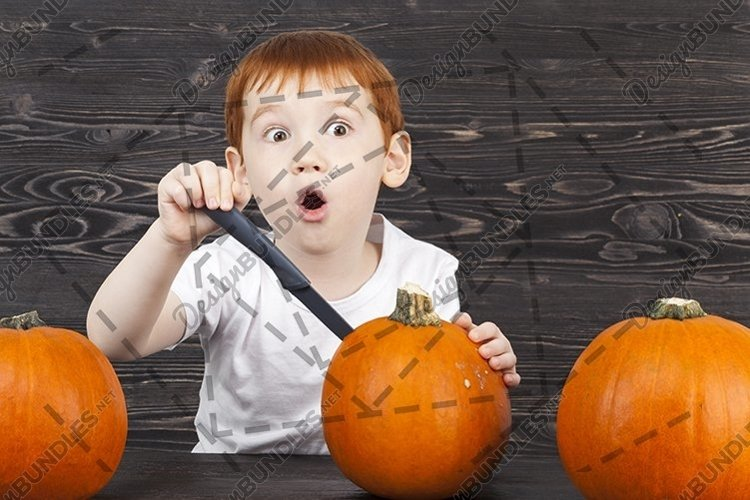 boy cut with a pumpkin example image 1