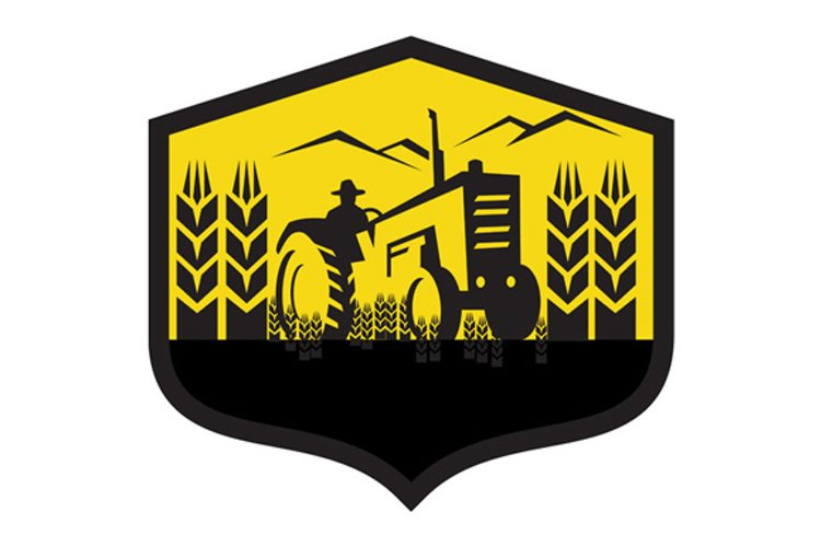 Tractor Harvesting Wheat Farm Crest Retro example image 1