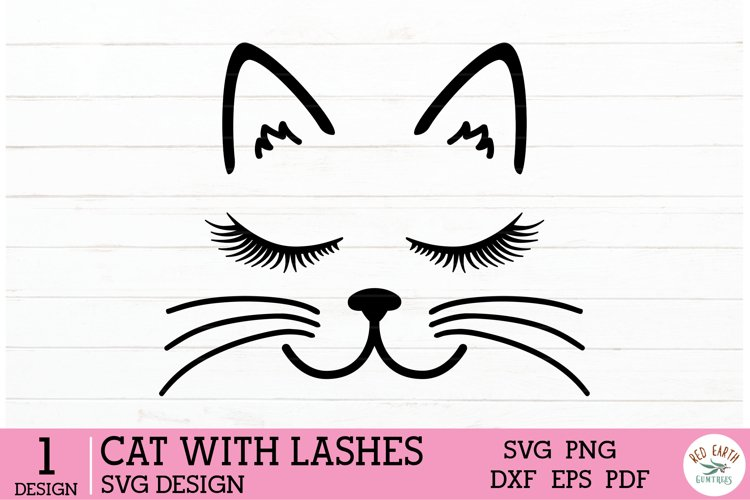Cat face with lashes in SVG, EPS, PDF, DXF, PNG formats