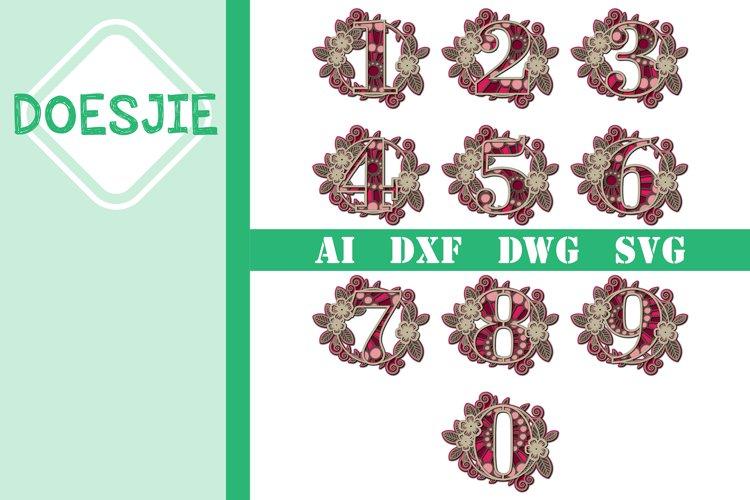 Flower Multi layer mandala 6 layers numbers 0-9 bundle example image 1