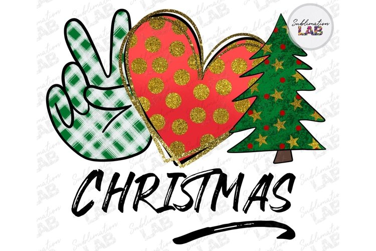Peace Love Christmas Sublimation Design Merry Christmas example image 1