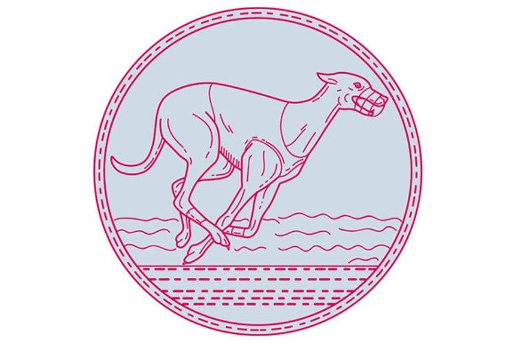 Greyhound Dog Racing Circle Mono Line example image 1