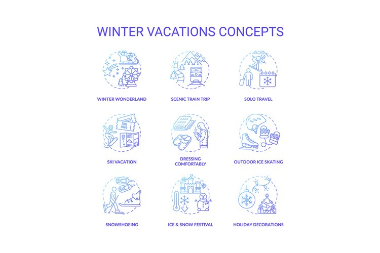 Winter vacations concept icons set example image 1