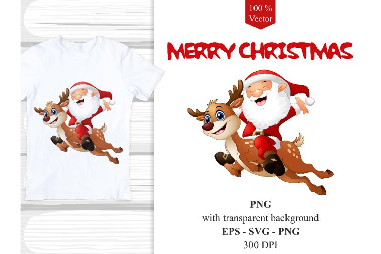 Santa Claus with Reindeer Vector Clipart