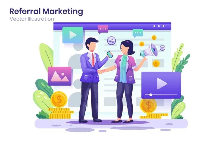 Referral Marketing concept flat illustration