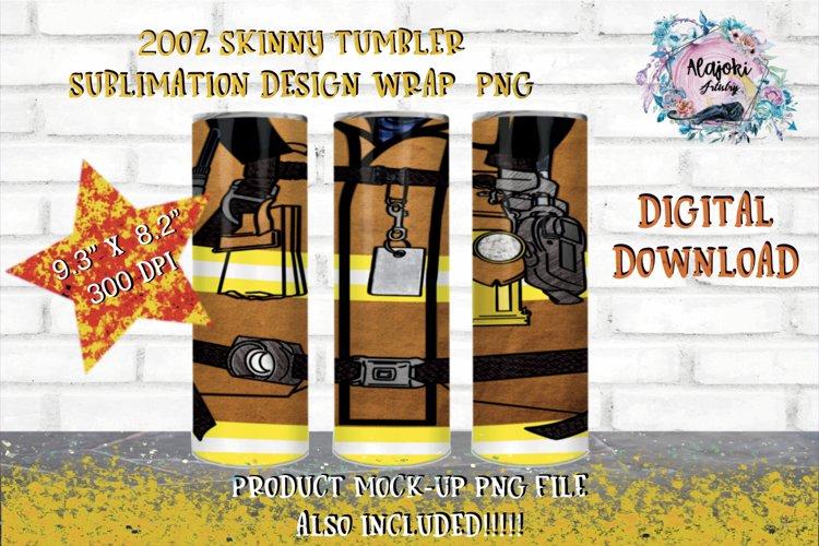 20oz  Yellow  Beige Uniform Fireman Sublimation Tumbler Wrap example image 1