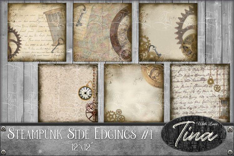 48pc Steampunk Side Edgings Gears, clocks, keys, maps