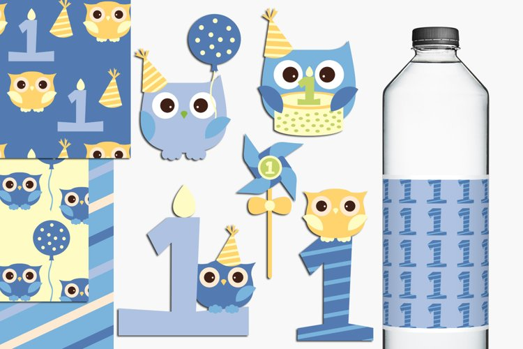 Baby boy first birthday party owls illustrations example image 1