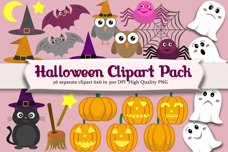 Halloween Clipart set with 26 png