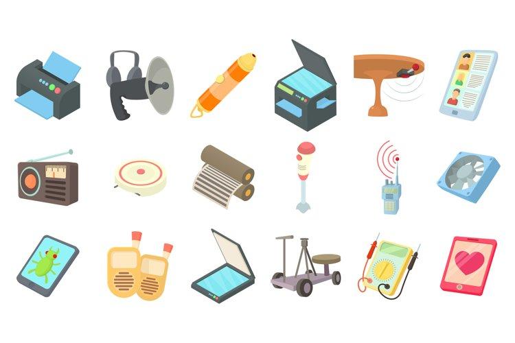 Electric device icon set, cartoon style example image 1