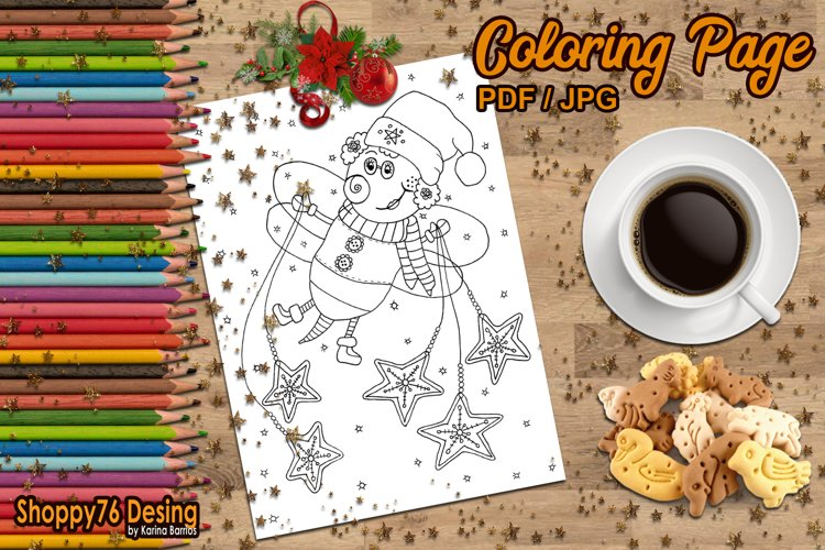 Christmas bee / Coloring page example image 1