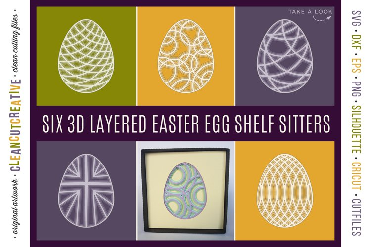 3D layered EASTER EGG shadow boxes | stacked paper art SVG example image 1