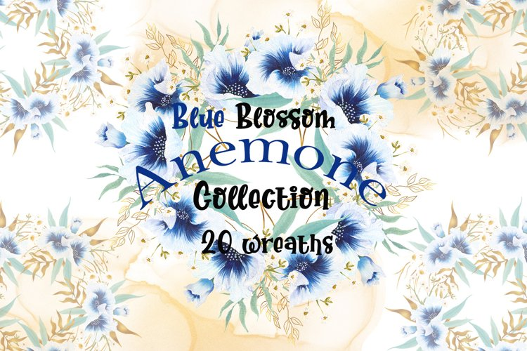 Watercolor blue anemone bloom wreaths example image 1